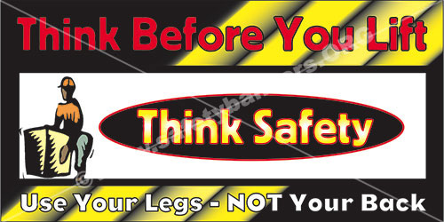Think Lifting Safely #1066 safety banner