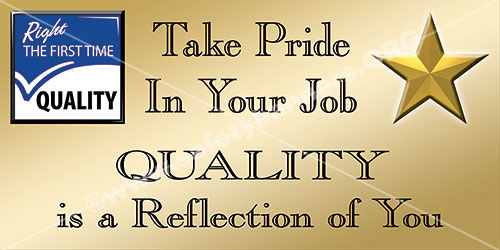 Quality is pride in you job banner and poster 1244