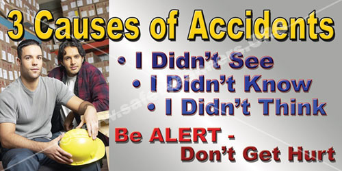 3 Causes Of Accidents Workplace Safety Banner Item Number 1025