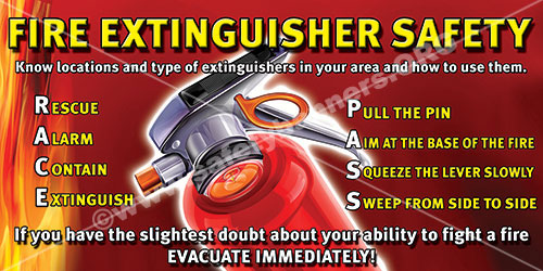 Fire Extinguisher Use Workplace Safety Banner Item 1135