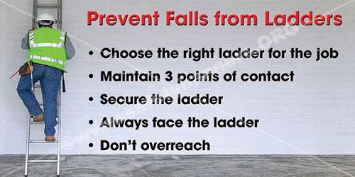 Prevent Falls From Ladders Ladder Safety Banner Item 1381