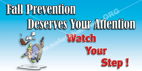 Slips Trips Falls Prevention Safety Banner Item 1146