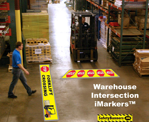 Warehouse Intersection Safety Floor Stickers Item 60010FS