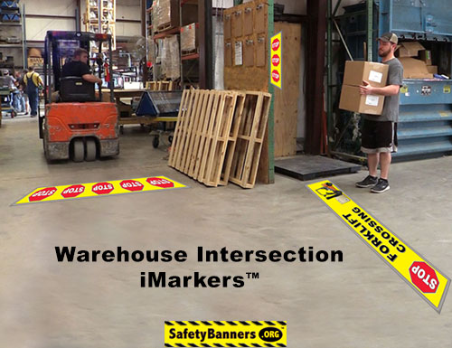 Warehouse Intersection Safety Floor Stickers