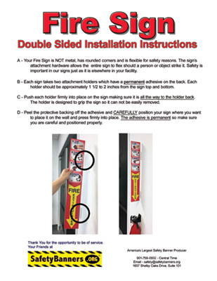 Fire Extinguisher Sign DOUBLE SIDED Instructions