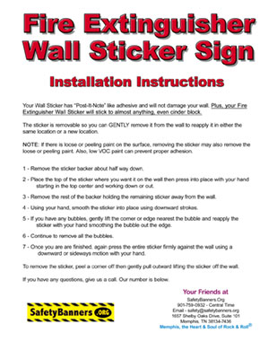 Fire Extinguisher Wall Sticker Instructions