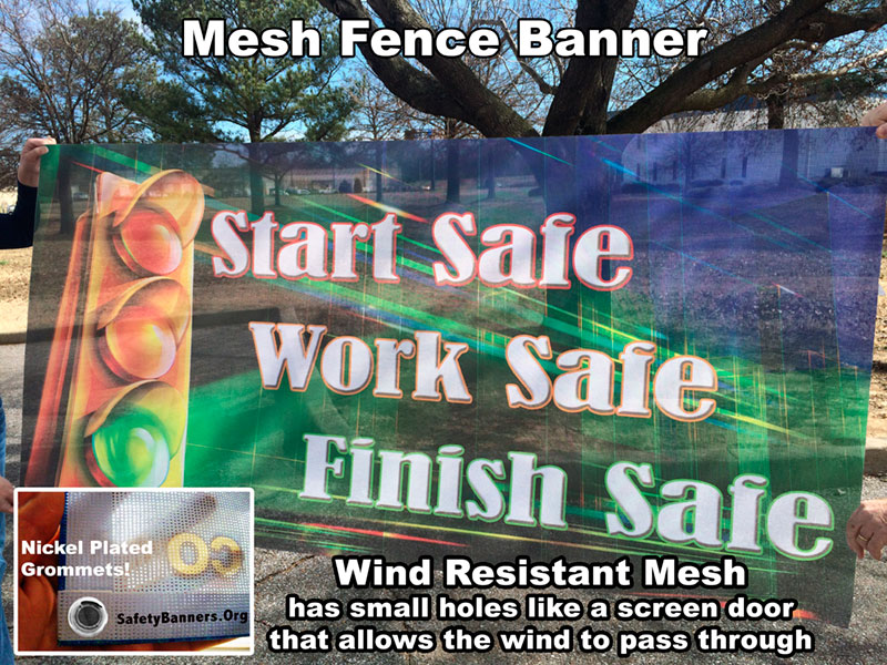 Mesh Fence Safety Banner for fence line