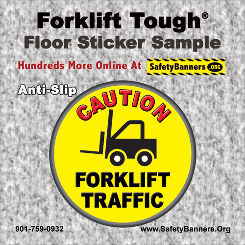 FORKLIFT Tough   4x4 Floor Sticker Sample   4p