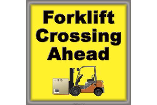 Forklift Crossing Floor Safety Sticker item 7232