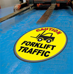 Warehouse Safety Floor Decals Forklift Tough Fork item6535