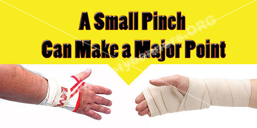 Hand Safety, A small pinch can make a major point safety banner
