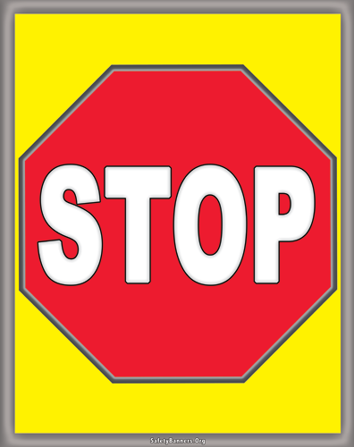 7301 Rack Banner Caution STOP