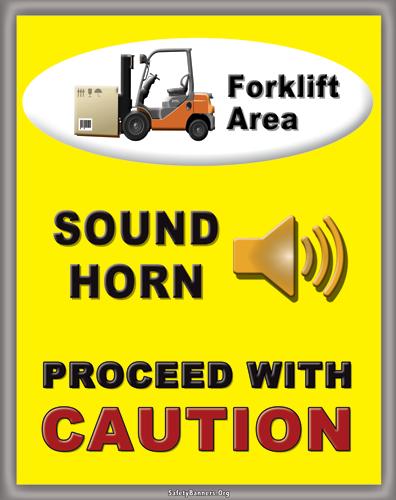 forklift intersection safety pallet rack banner forklift area